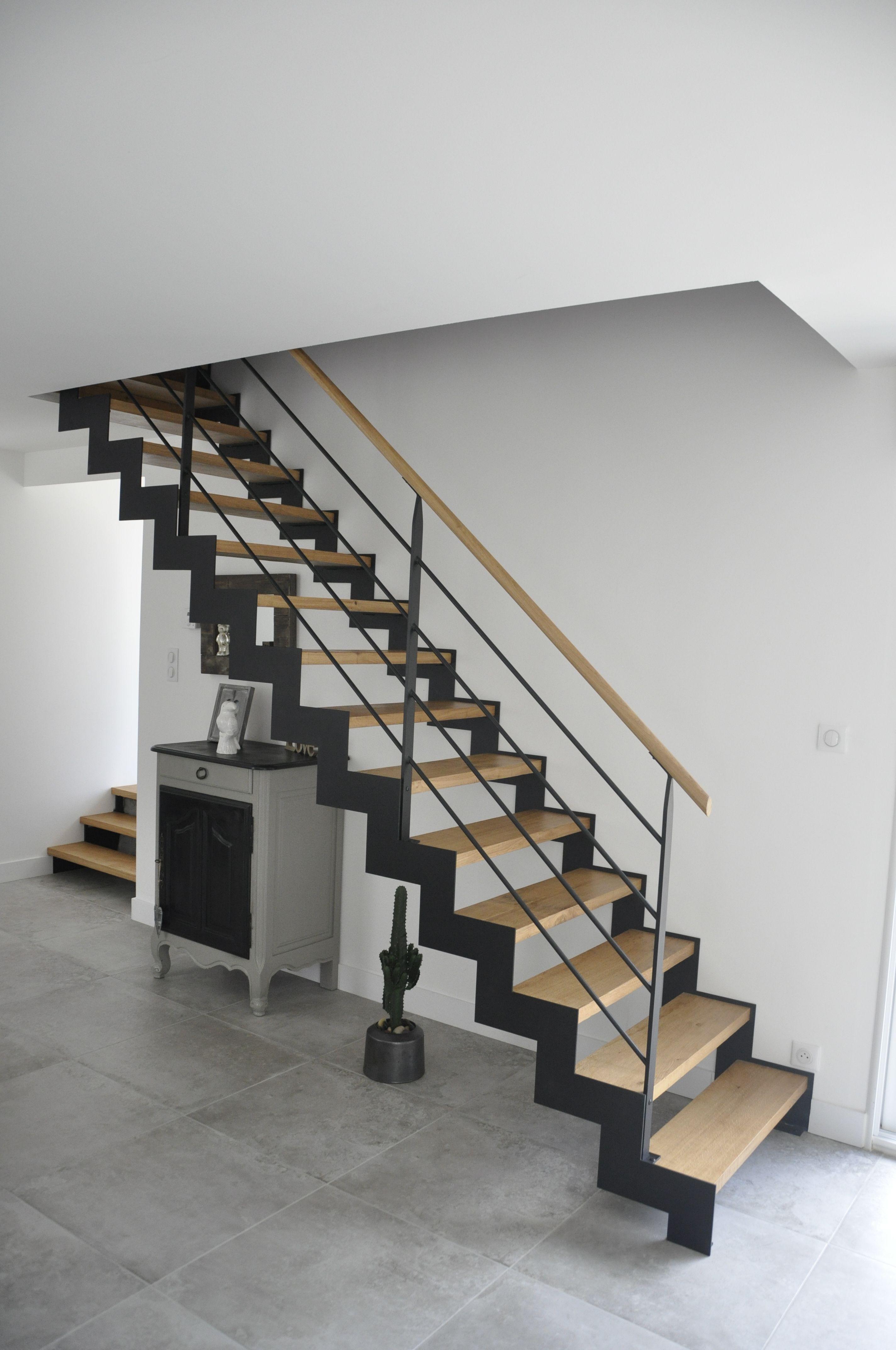 Escalier Bois Metal Noir escalier bois métal crémaillère noir sablé