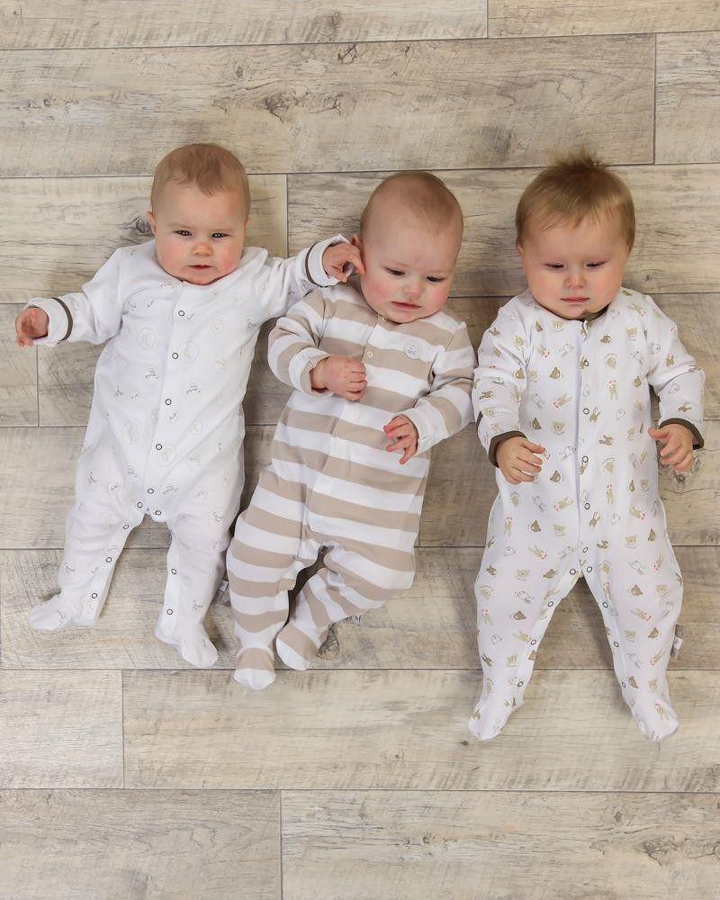 3 Pack Baby Unisex Stripe Sleepsuits Babygrows - Beige  www.theessentialone.com #babyfashion #baby #kidsfashion #parenting #newborn #babystuff #theessentialone
