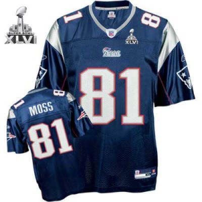 newest 2f3a2 f0c05 New England Patriots 81 Randy Moss Blue 2012 Super Bowl ...