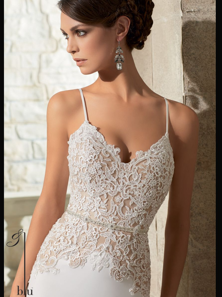 V Neck With Spaghetti Straps Lace Floor Length Wedding Dress