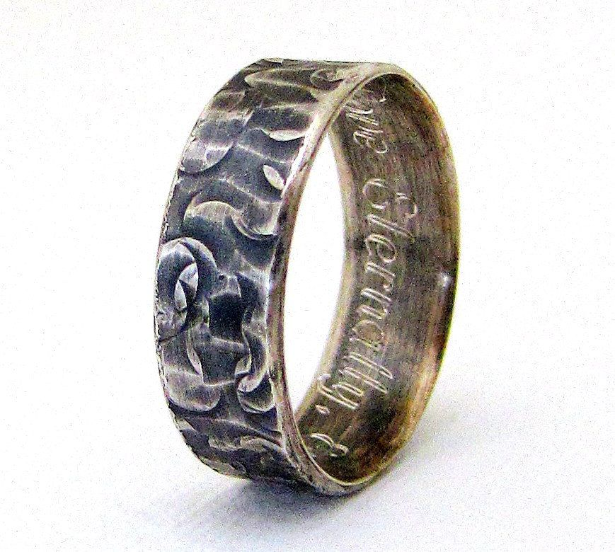 Engraved Wedding Band Hammered Silver Wedding Ring Distressed