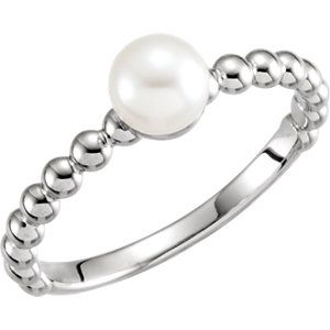 14kt White 6mm Freshwater Cultured Pearl Ring Mounting