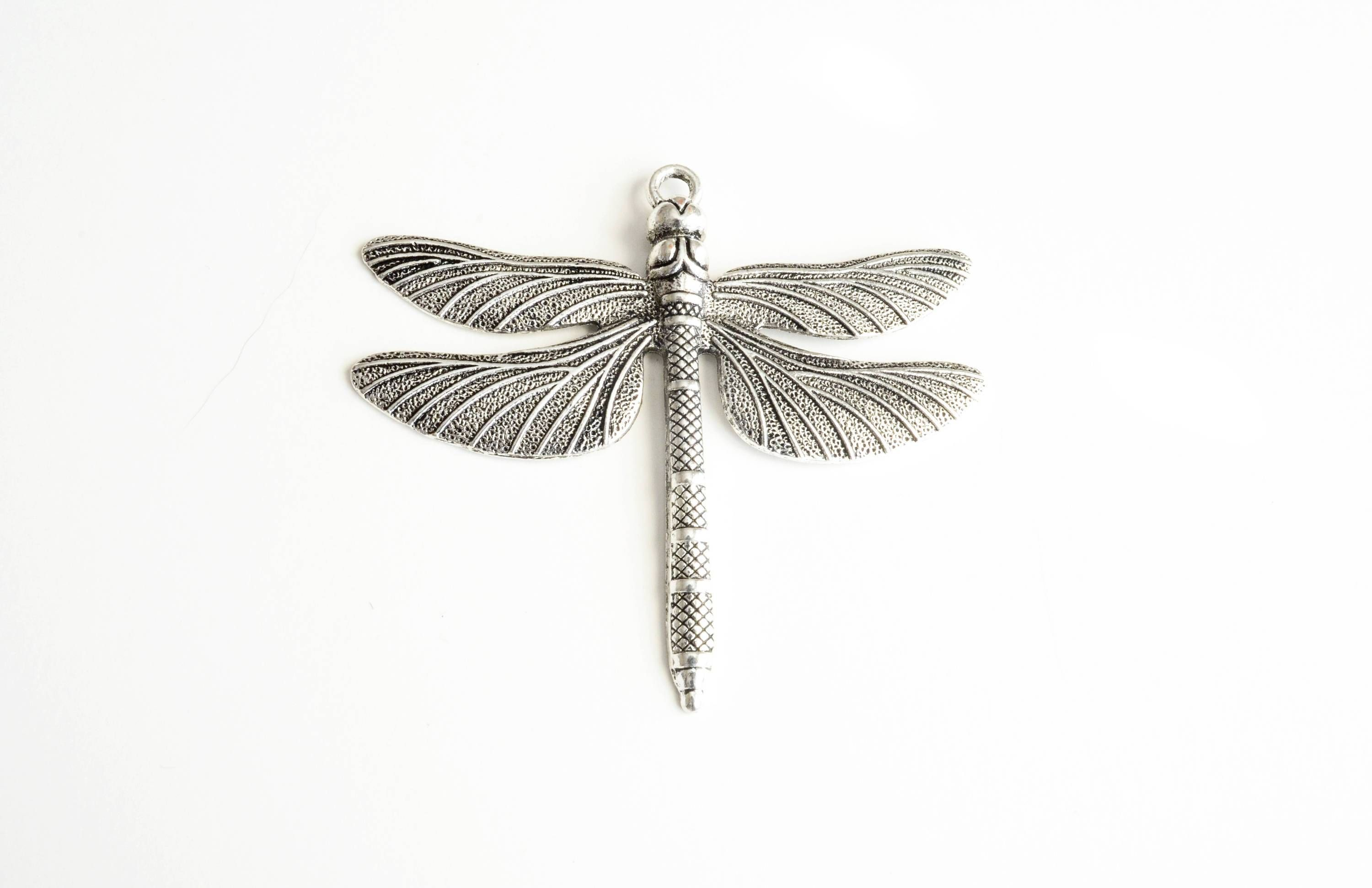 itm gold dragonfly in sterling pendant silver with diamonds plated