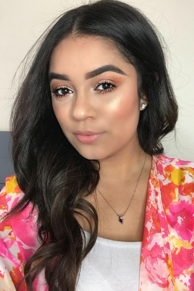 Simple Peach Glowy Makeup Celebrity makeup looks, Makeup
