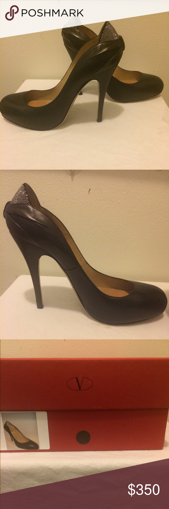 Valentino Black Leather Stiletto with Swarovski Valentino Black Leather Stiletto with Swarovski crystal embellishments on heel.  4.5 inch heel. Worn 3 times. Exquisite condition. Will consider reasonable offers. Comes with box and shoe bag. Valentino Shoes Heels