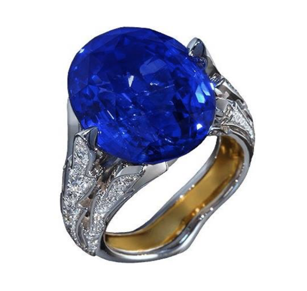 natural gold itm signed diamond ring rare hammerman bros bullet heavy sapphire