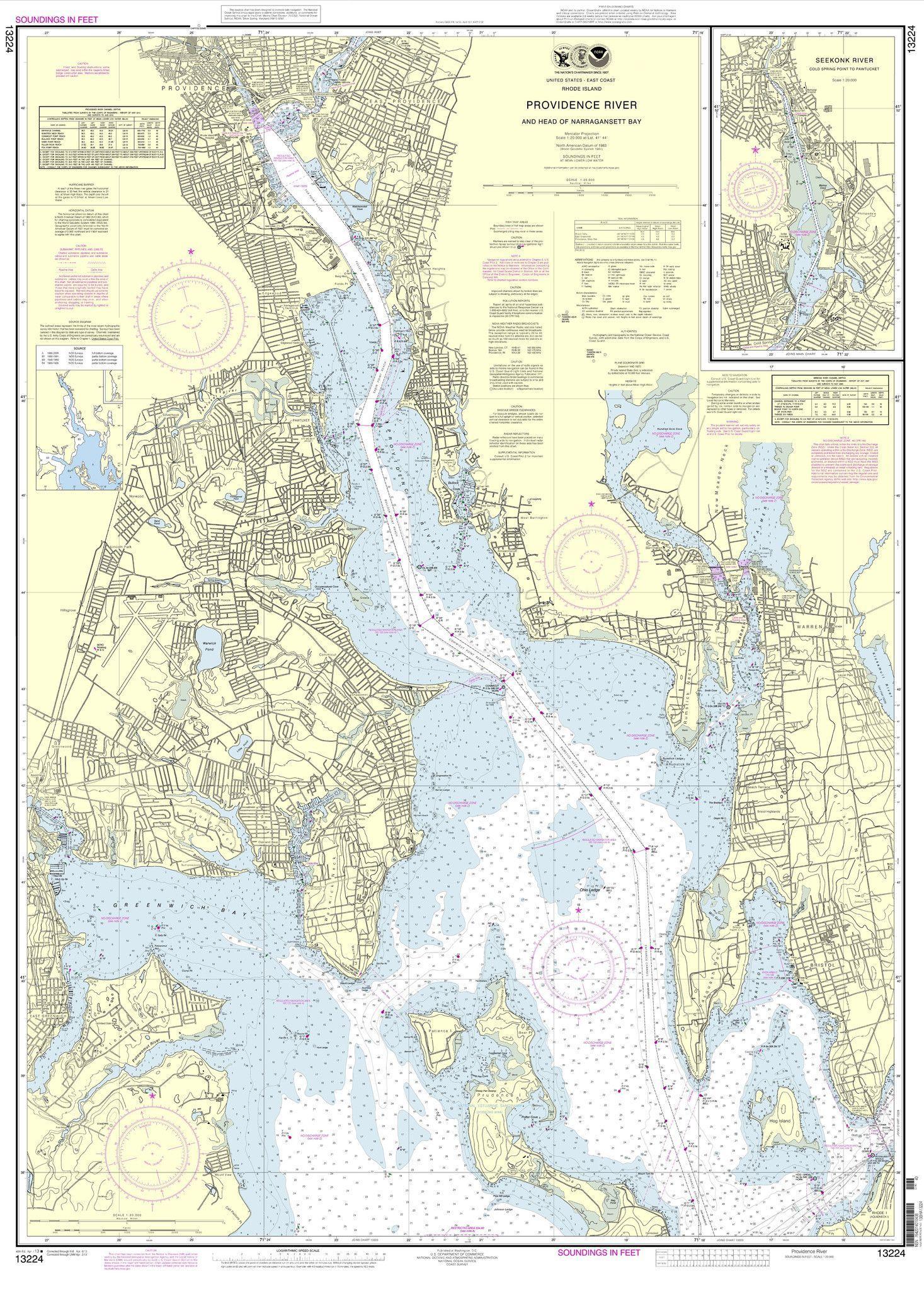 Noaa nautical chart 13224 providence river and head of narragansett noaa nautical chart 13224 providence river and head of narragansett bay gumiabroncs Images