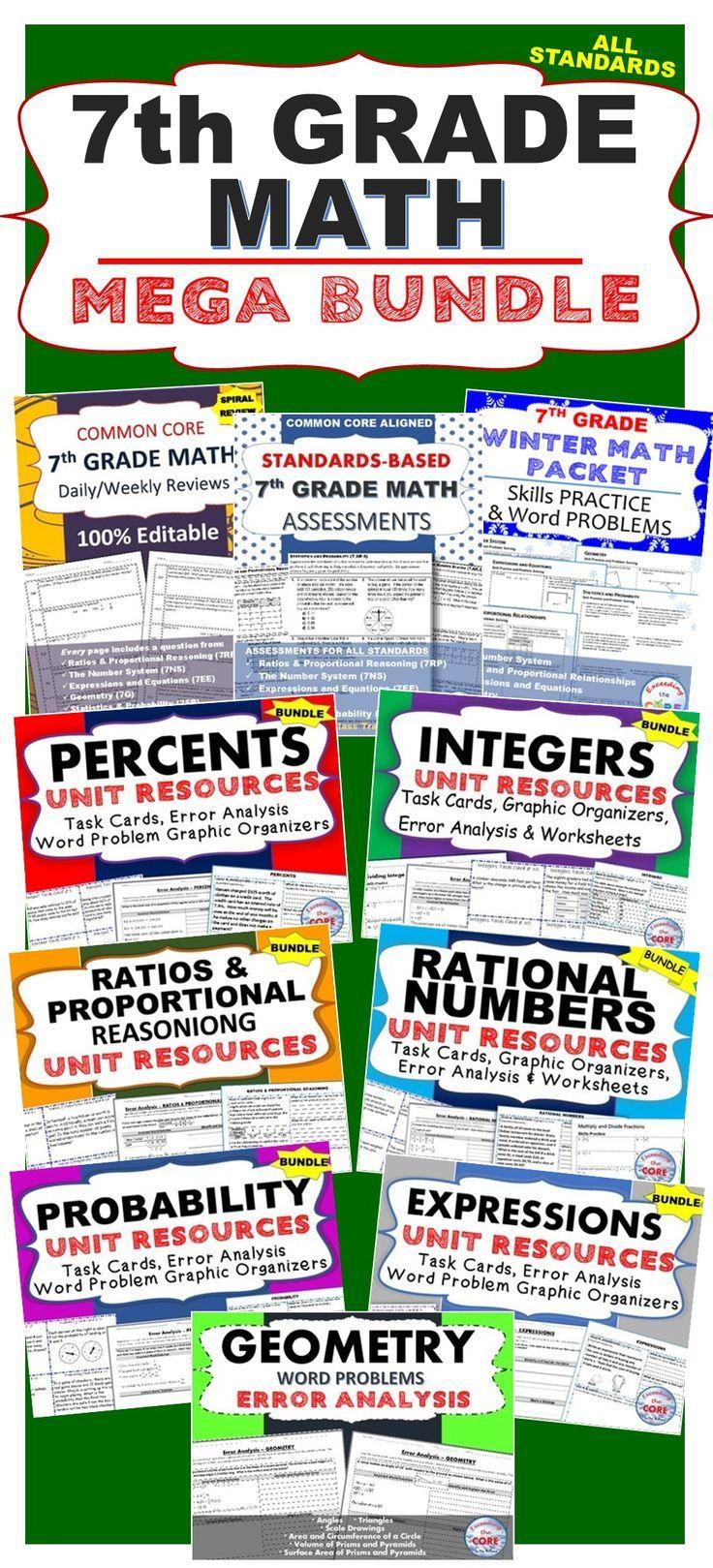 7th Grade Math COMMON CORE Assessments, Warm-Ups, Task ...