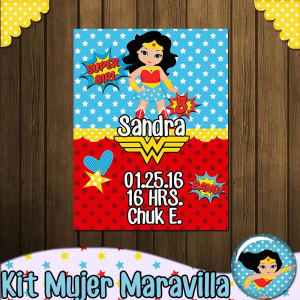 KIT MUJER MARAVILLA Kitcandyparty cumpleaños mujer maravilla Wonder woman birthday, Wonder