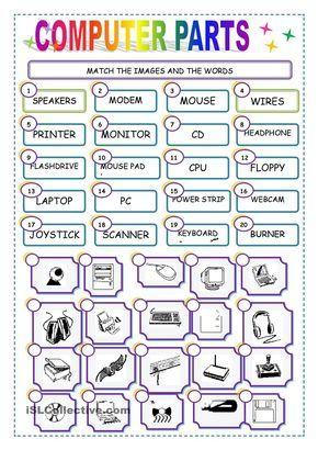 MATCH THE COMPUTER PARTS worksheet - Free ESL printable