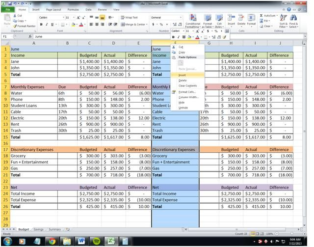 Paying Bills Bi-Weekly Using a Budgeting Spreadsheet