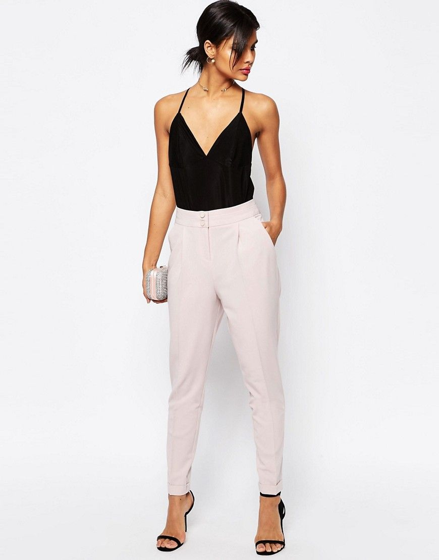 Image 1 of ASOS Tailored High Waisted Pants with Turn Up Detail