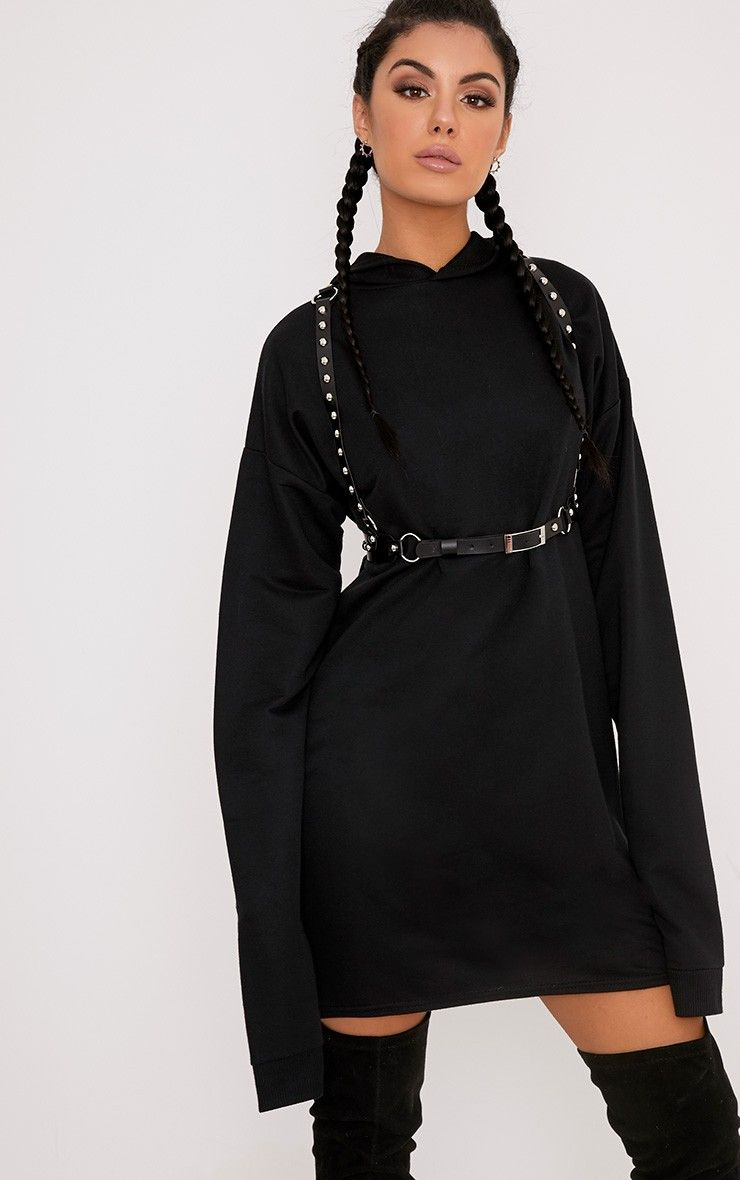 Black Extreme Long Sleeved Hoodie Sweater Dress Work serious off ...