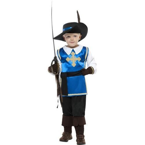 Musketeer Boys Medieval Fancy Dress Childrens Child Costume Kids Outfit Hat