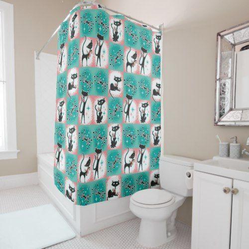 Mid Century Modern Cats Shower Curtain Cat Shower Curtain