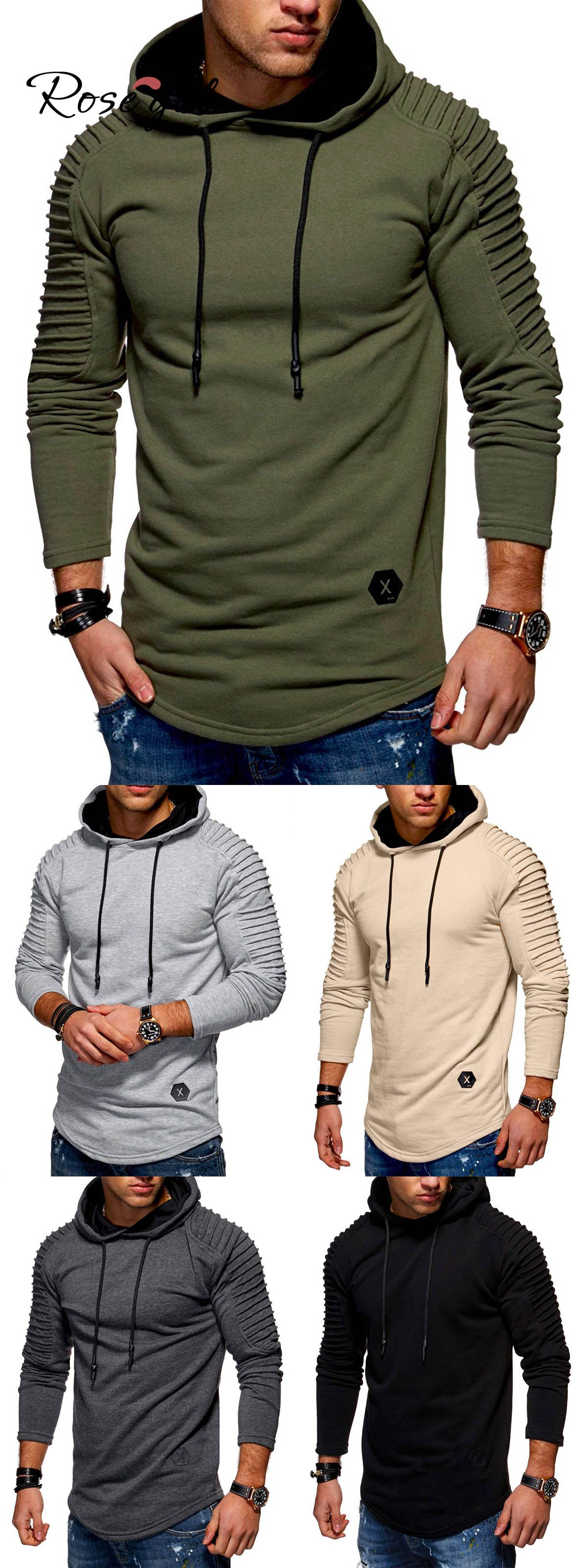 Free shipping over  49, up to 70% off,  21.03, Solid Pleated Sleeve Hem  Curved Long Fleece Hoodie   Rosegal,rosegal.com,Rosegal for men,mens  sweatshirts ... 0d73db9c507f