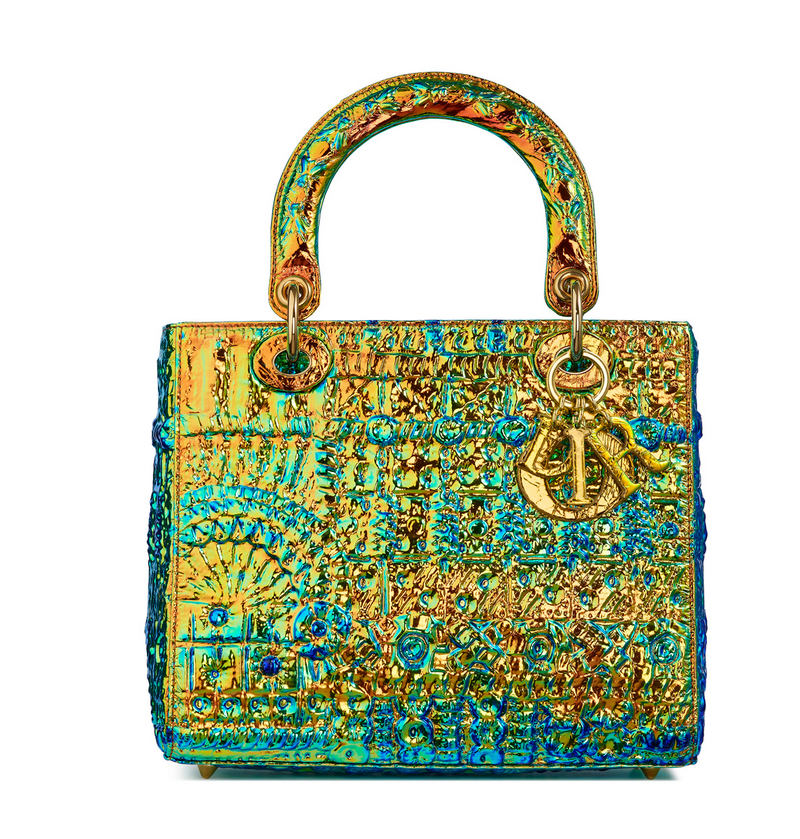 A metallic turquoise and gold bag by female artist Pae White is a new take  on the Lady Dior purse made famous by Princess Diana. 92f0270ea1