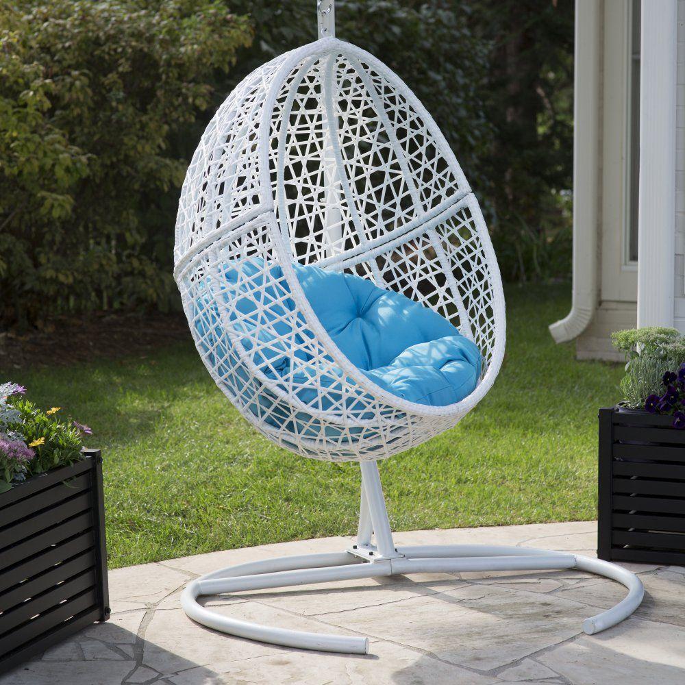 Belham living resin wicker blanca hanging egg chair with