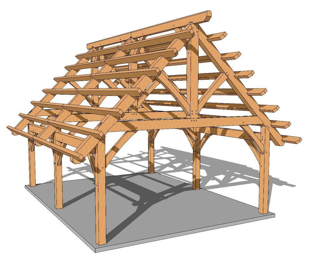 18x24 Foot Timber Frame Pavilion Plan Timber Frame Hq Timber Frame Pavilion Timber Frame Plans Pavilion Plans