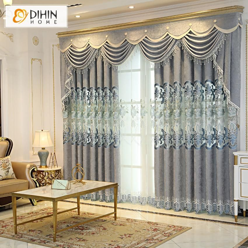 Dihin Home European Embroidered Valance Blackout Curtains Grommet Window Curtain For Living Room 52x84 Inch 1 Panel Curtains Living Room Curtains Living Room Decor Curtains