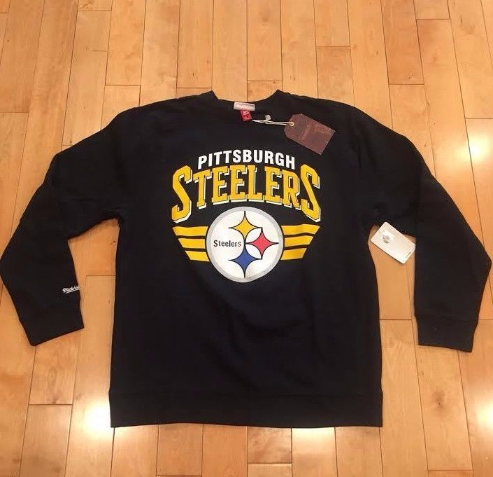MITCHELL AND NESS PITTSBURGH STEELERS CREWNECK SWEATSHIRT SZ S-3XL   8644A
