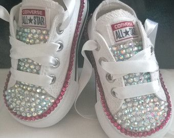 aec25a771d297 Girls Custom Crystal 3/4 Tongue *Bling* Converse - Infant Sizes 2-10 ...