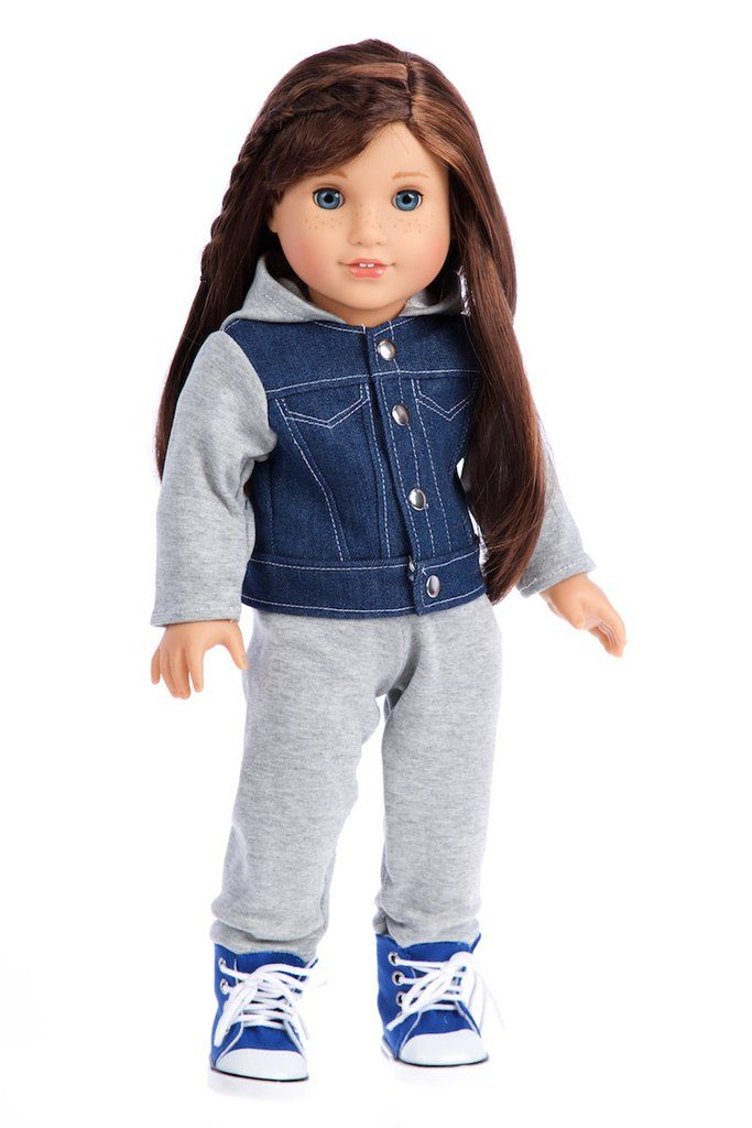 Tomboy - 4 Piece Doll Outfit - Jeans Jacket, Grey Sweatpants, T ...