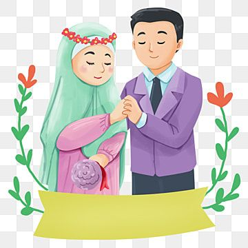 Photo of Wedding Couple Hijab Girl And Man In Suit Illustration, Bride, Wedding, Couple PNG Transparent Clipart Image and PSD File for Free Download