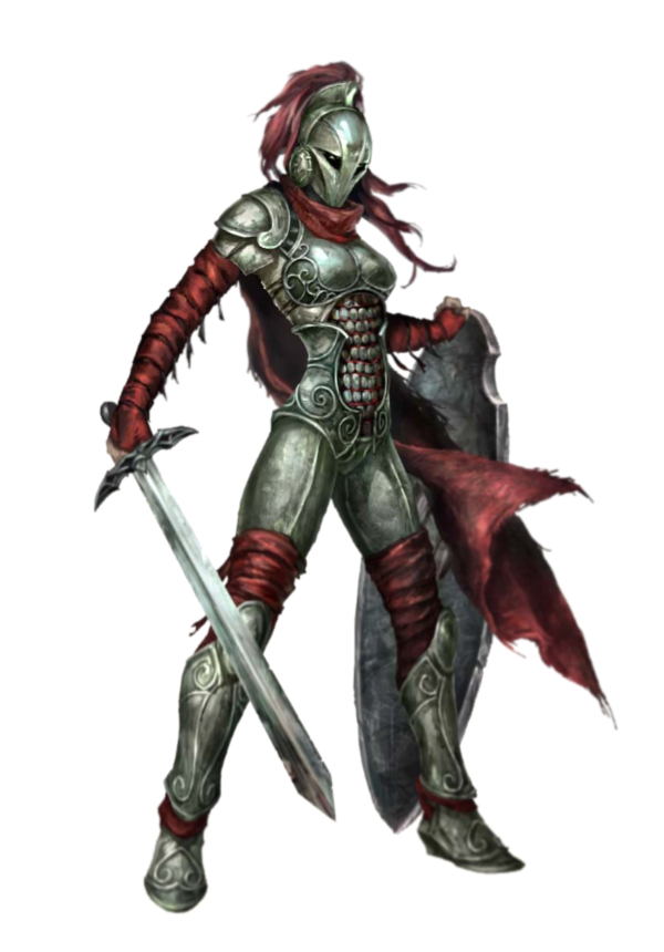 Shapeshifter Character Design : Female human fighter with longsword and shield in plate