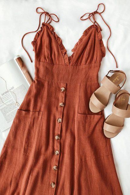 Photo of Lisbeth Rust Orange Button Front Midi Dress