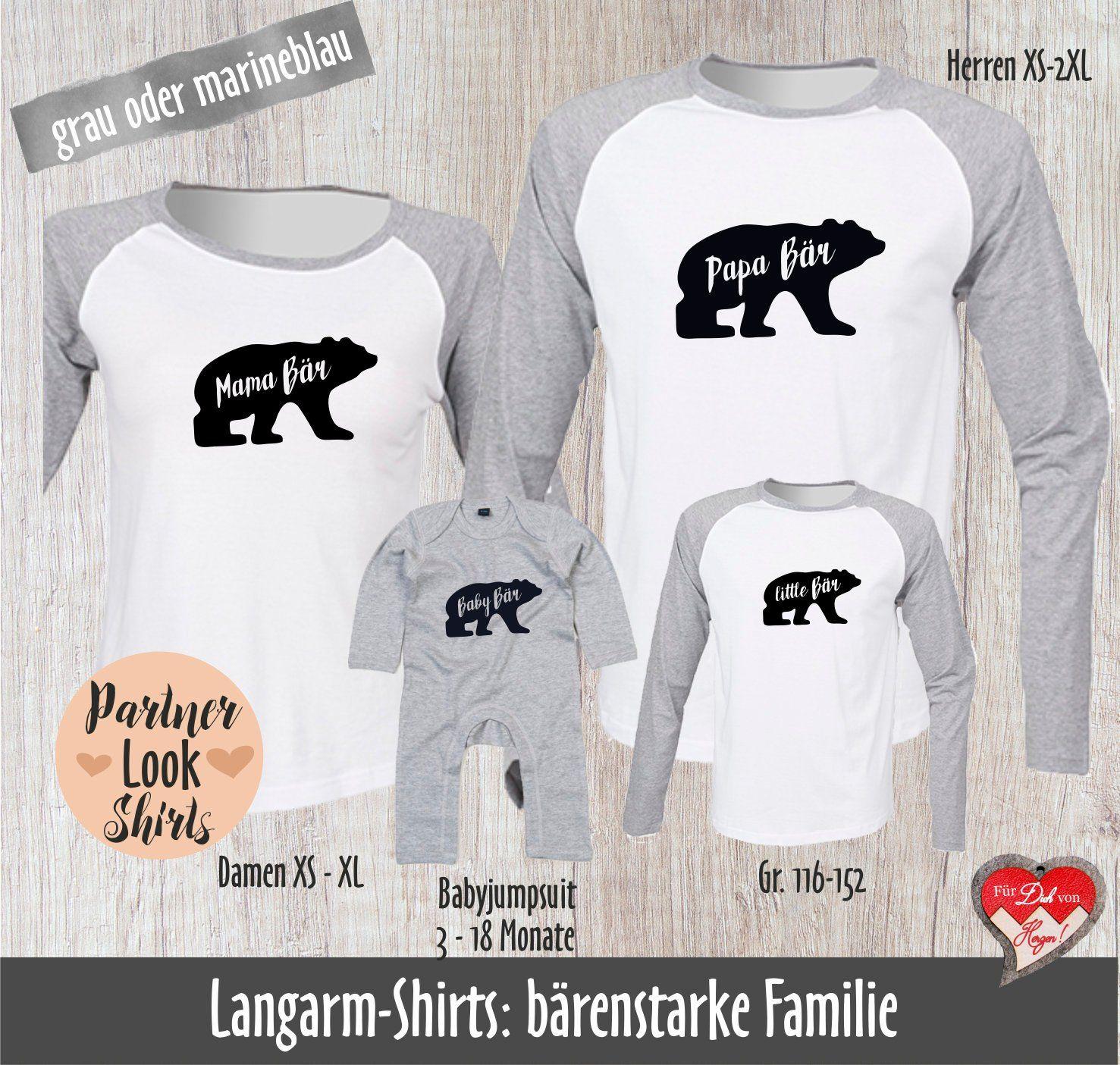 Vater /& Kind Geschenk Set langarm Bio Babybody /& Shirt Papa Bear /& Baby Bear