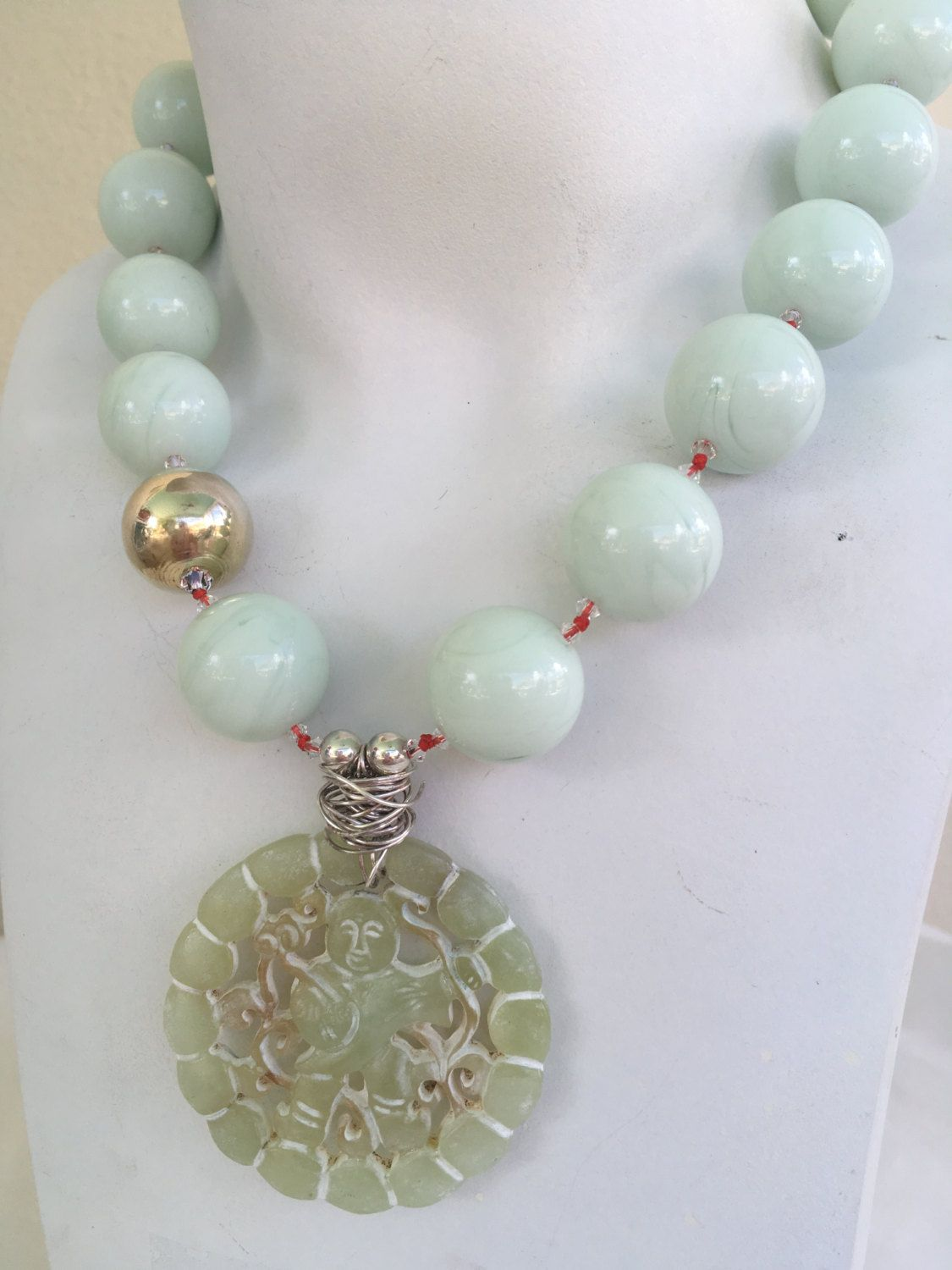 Green Jade Necklace,Gold Plated Necklace,Jade Statement Necklace,Boho Necklace,Green Silk Necklace,Jade Necklace,Healing Necklace