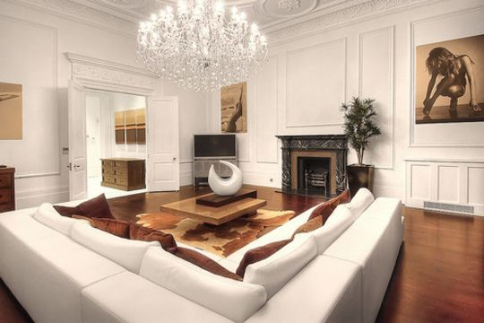 Examples of decorating with large scale photos white and tan
