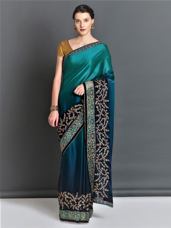 f42fb4e5be75a8 Mitera Teal & Navy Blue Poly Georgette Embroidered Saree - Sarees for Women  7100750   Myntra #designersaree #designer #afflink #saree #fashion ...