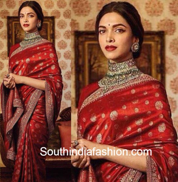 Deepika Padukone In A Red Sabyasachi Saree Sabyasachi Sarees Deepika Padukone Saree Saree Look