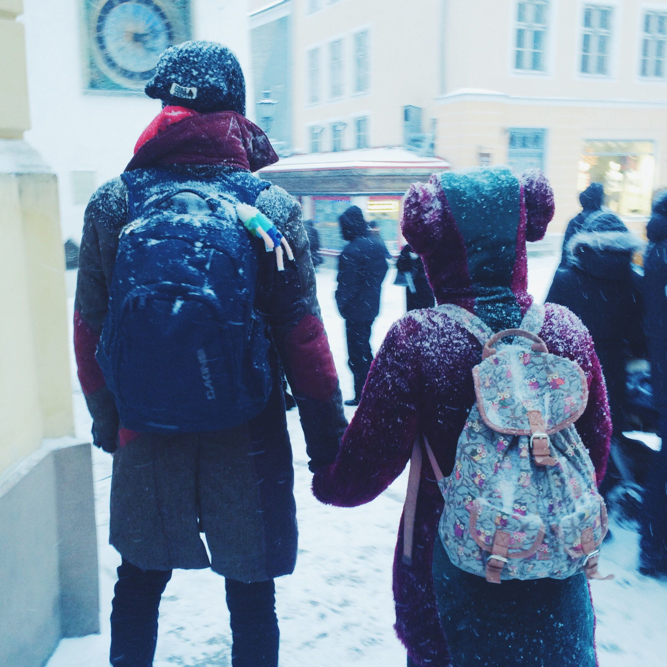 Right out of the fairytale and right into the snowy Old Town of Tallinn! #fashion #knittedhat #parka #elbowpatches #maroon #stuffedtoy #teddybearcoat #teddybear #printedbackbag #owls #backbag #outofthefairytale #fairytale #streetstyle #tallinnstreetstyle #TSS