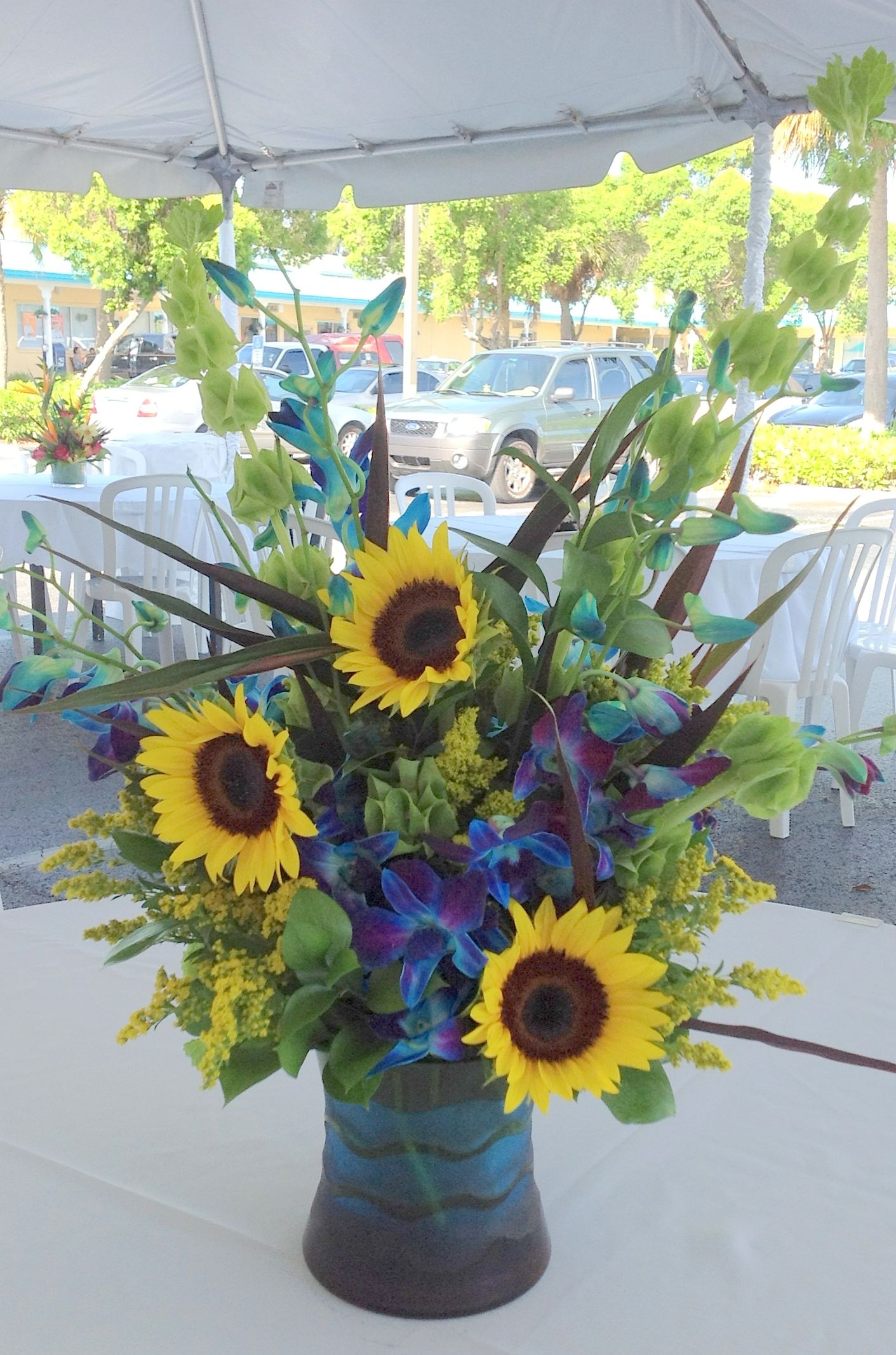 Sunflower And Blue Orchid A Flowers By J J Orange Wedding Flowers Wedding Flowers Blue Orchid Bouquet