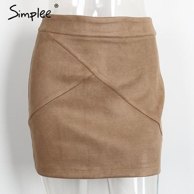 Vintage Leather Suede Pencil Skirt High Waist