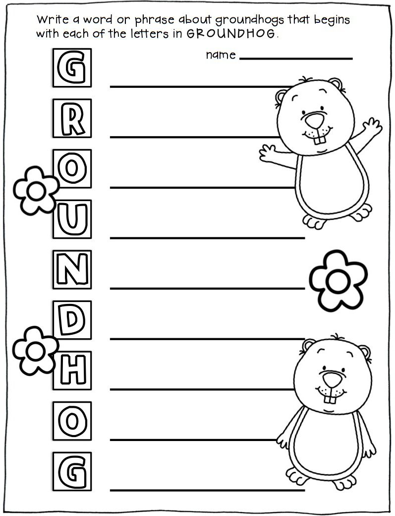Uncategorized Groundhog Day Math Worksheets groundhog day activities and craft acrostic poem