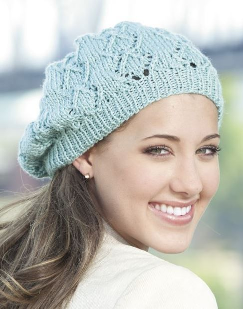 0cb99d78ef8 Knitting Pattern for Lacy Beanie -  ad Lace slouchy hat is one of 10  designs in Knit Slouchy Beanies   Headwraps tba beret