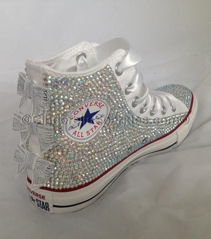 052e6af514f9 White HighTop Sequin Bow Sparkled Rhinestone Glass Crystal Converse Wedding  Prom