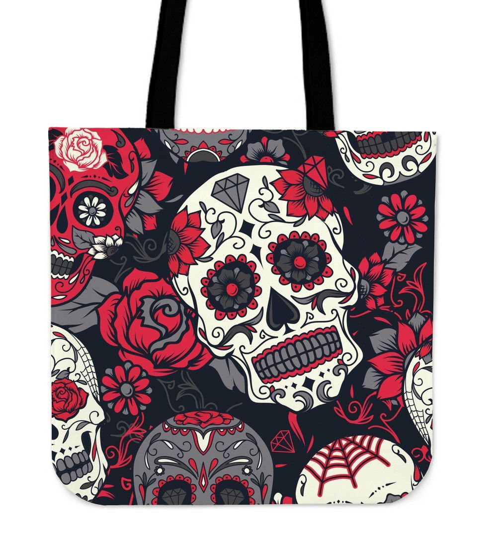 Red And White Sugar Skull Tote