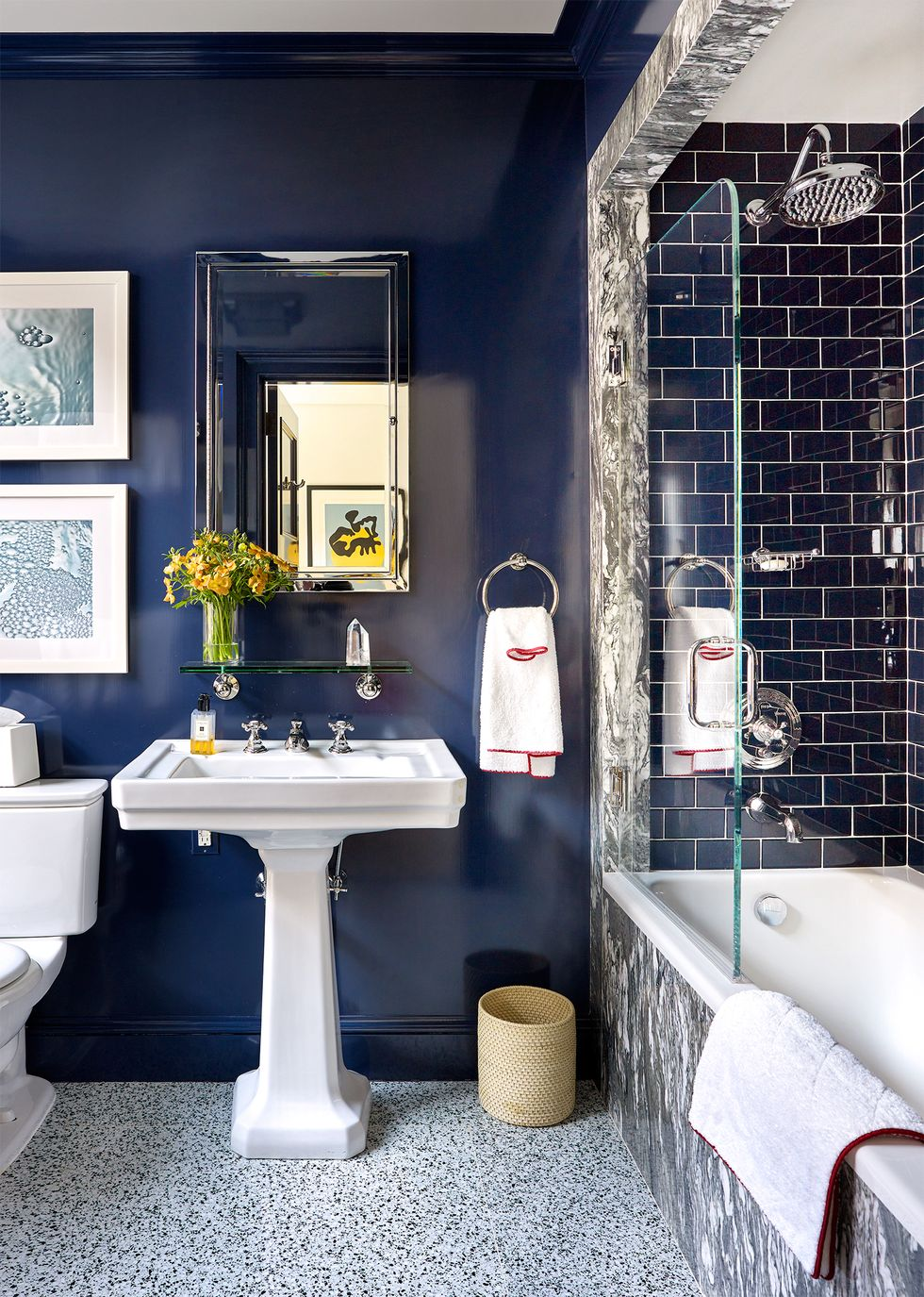 This Prewar Apartment Went From Fussy To Fabulous With A Modern Update Bathroom Design Small Unique Bathroom Tiles Small Bathroom