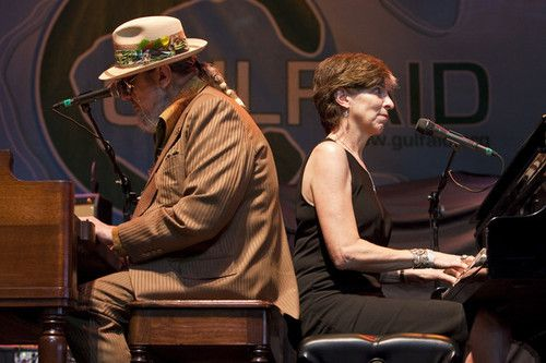 New Orleans Singer Songwriter Dr John L And Marcia Ball Of The Voice Of The Wetlands Allstars Perform At The Gulf Aid Benefit Concert At Mardi Gras World Riv