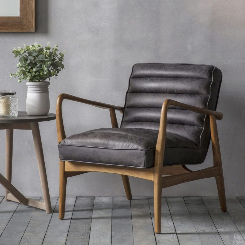 Bon Black Leather Retro Armchair