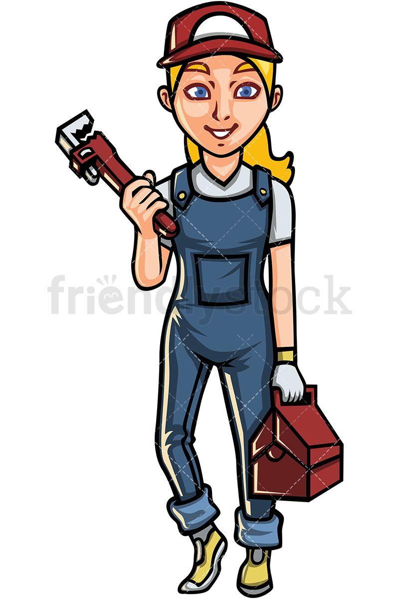 Female Plumber Cartoon Vector Clipart Friendlystock Cartoons Vector Asian Woman Clip Art
