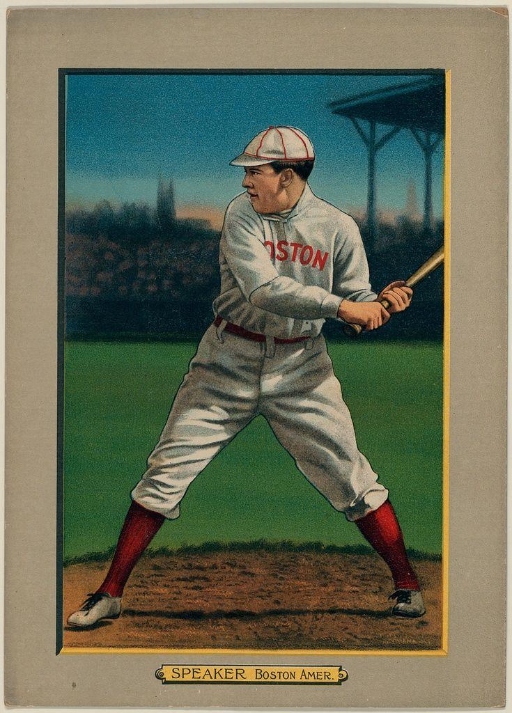 Tris Speaker Boston Red Sox Baseball Card Portrait 1911 Baseball Cards Reds Baseball Baseball Print