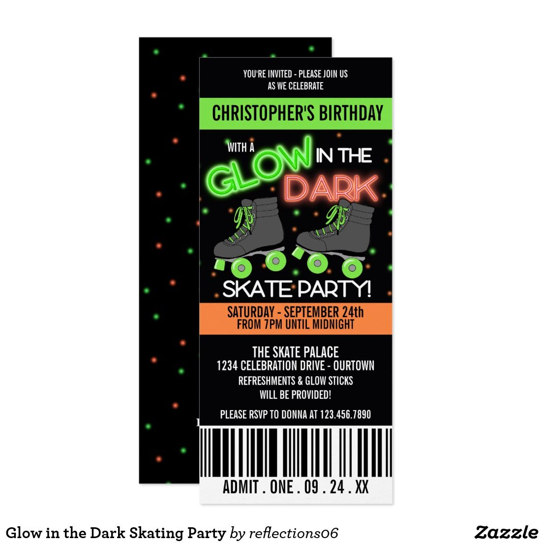 Glow in the Dark Skating Party Invitation | Birthday Sweeties ...