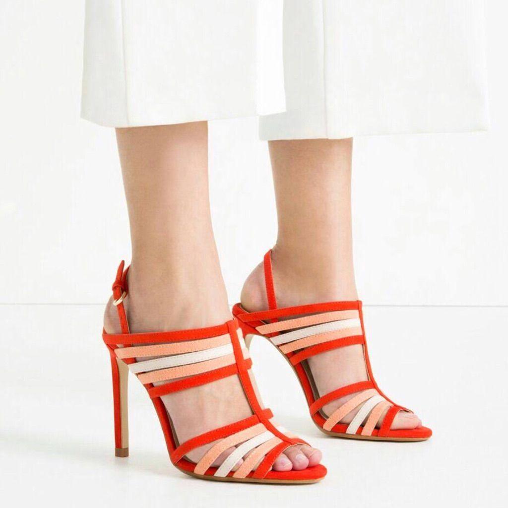Zara Strappy Slingback Heel Sandals 39 Multicolor   Color