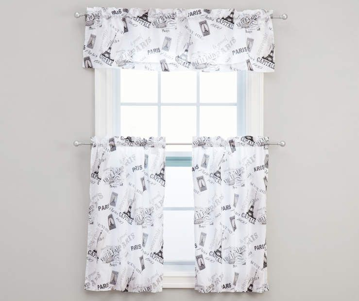 Living Colors White Paris Kitchen Tier Valance 3 Piece Set
